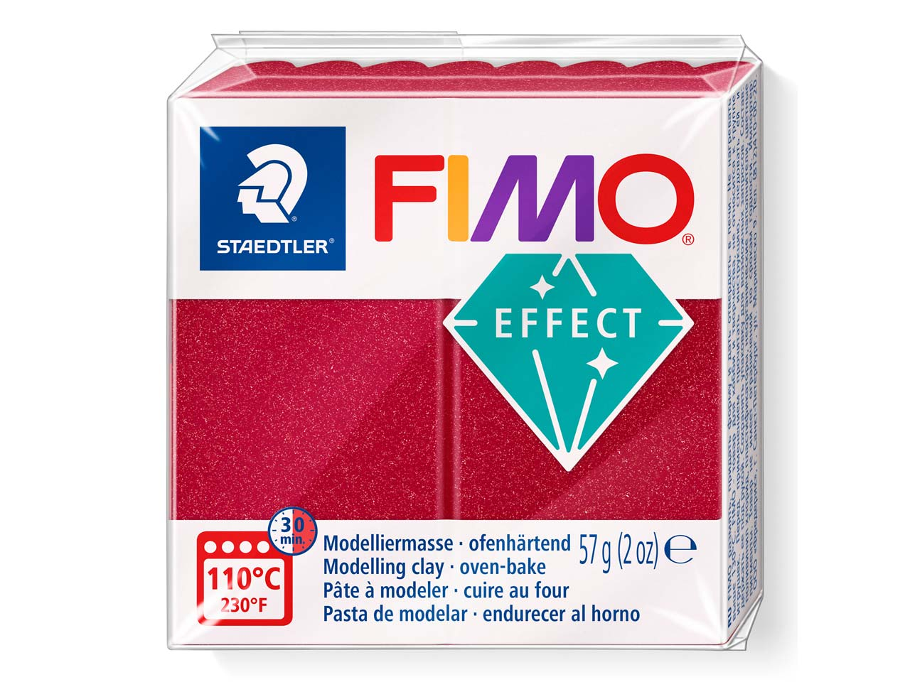 Fimo Effect Metallic Ruby Red 57g  Polymer Clay Block Fimo Colour     Reference 28