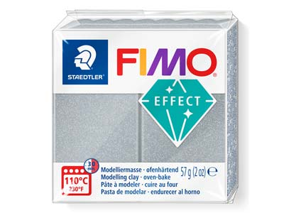 Fimo Effect Metallic Silver 56g Polymer Clay Block Fimo Colour Reference 81