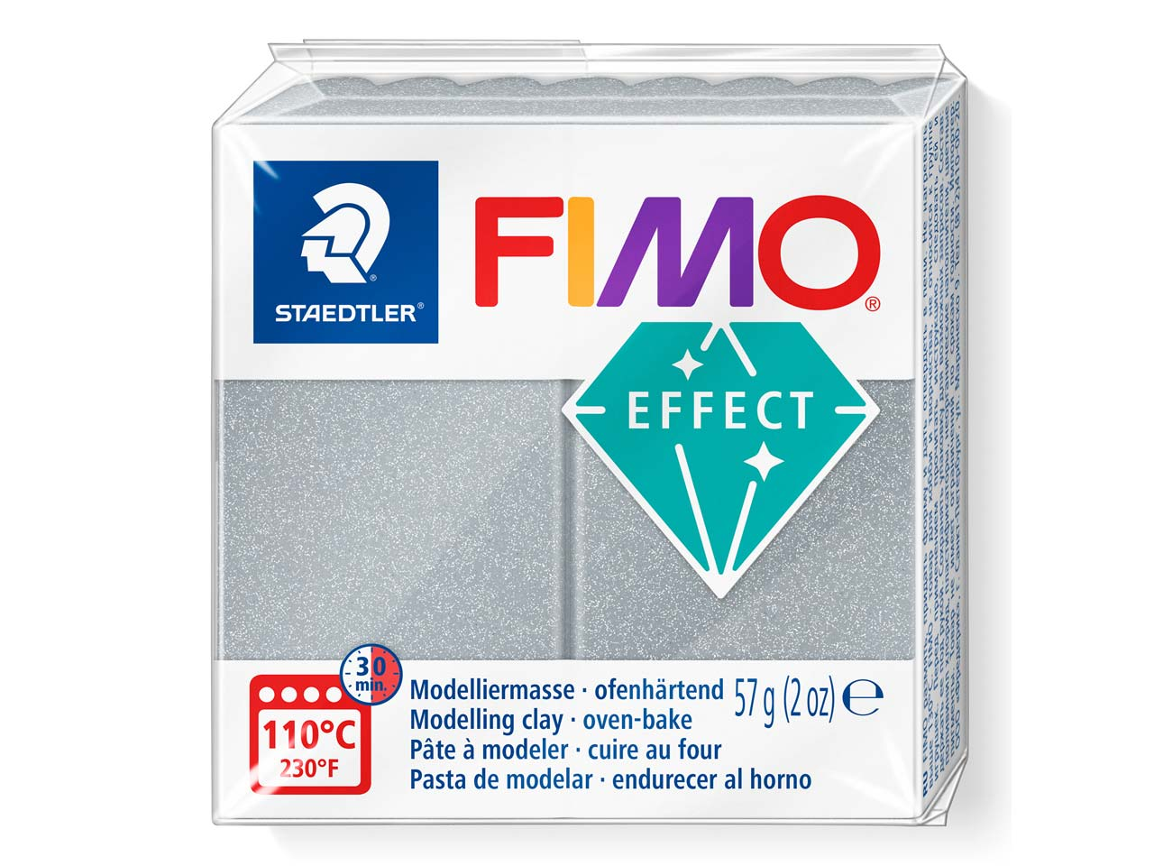 Fimo Effect Metallic Silver 57g    Polymer Clay Block Fimo Colour     Reference 81