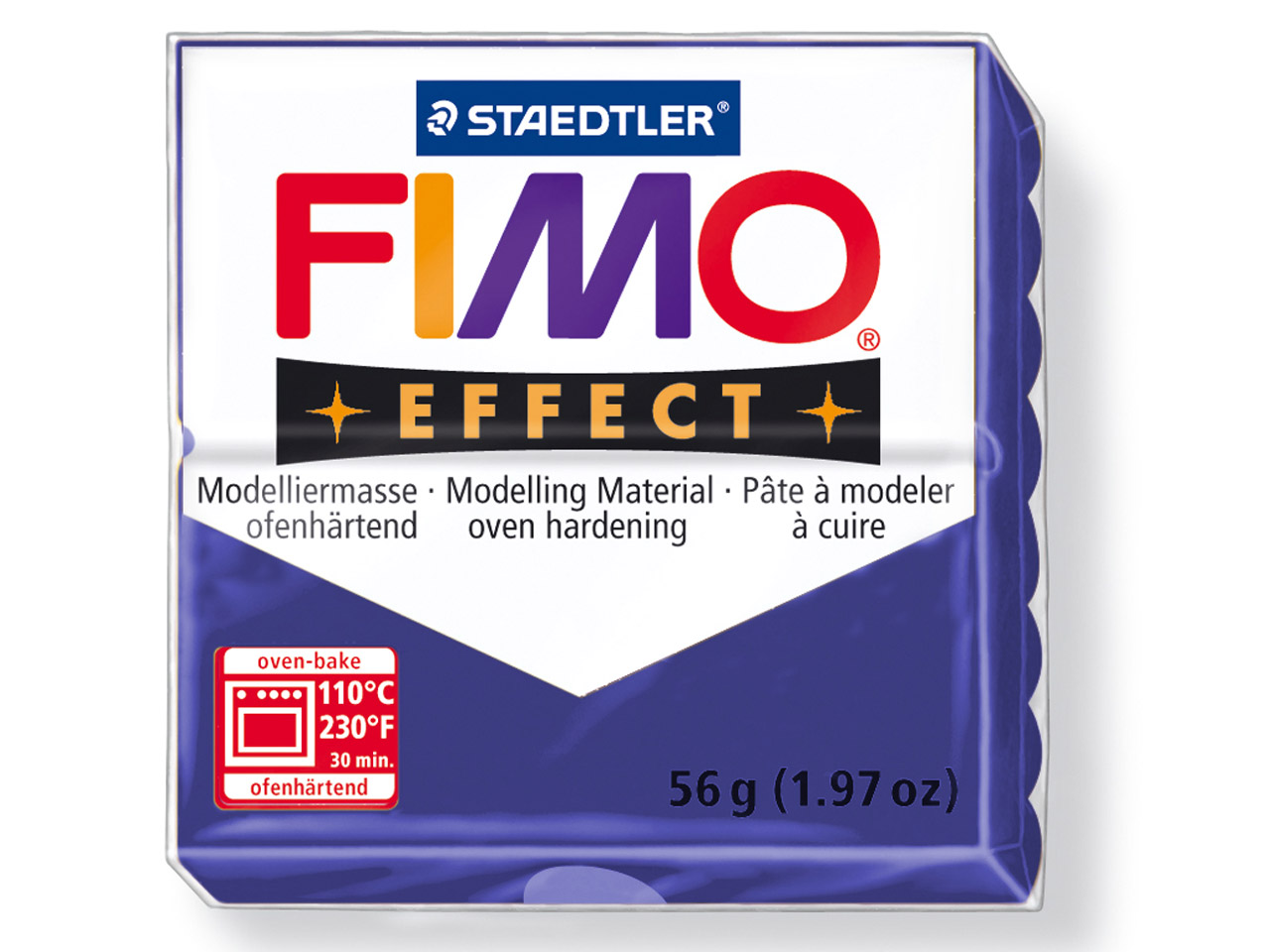 Fimo Effect Metallic Sapphire Blue  56g Polymer Clay Block, Fimo Colour Reference 38