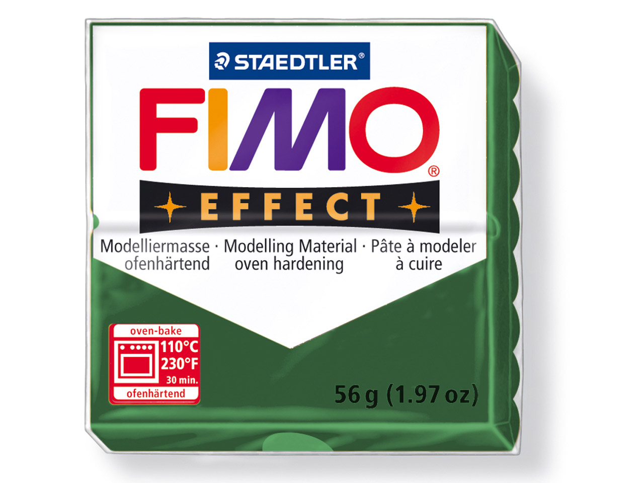 Fimo Effect Metallic Opal Green 56g Polymer Clay Block, Fimo Colour     Reference 58