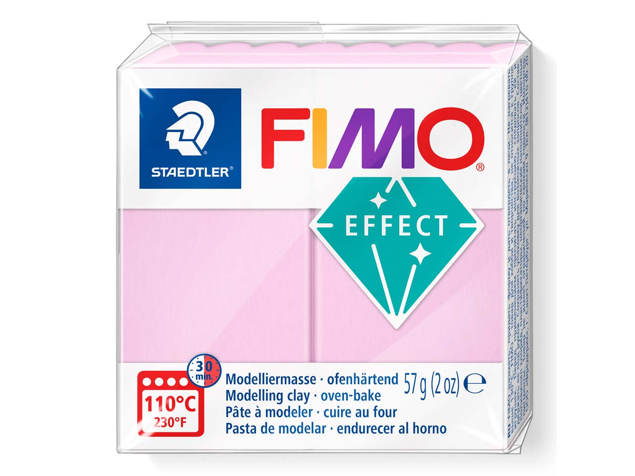 Fimo Effect Pastel Rose 57g Polymer Clay Block Fimo Colour Reference    205