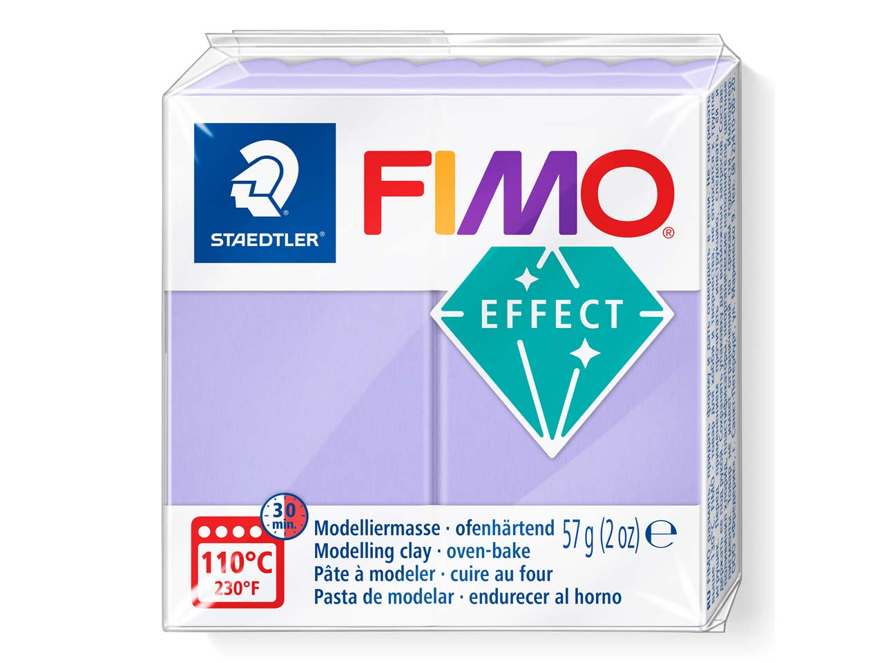 Fimo Effect Pastel Lilac 56g       Polymer Clay Block, Fimo Colour    Reference 605