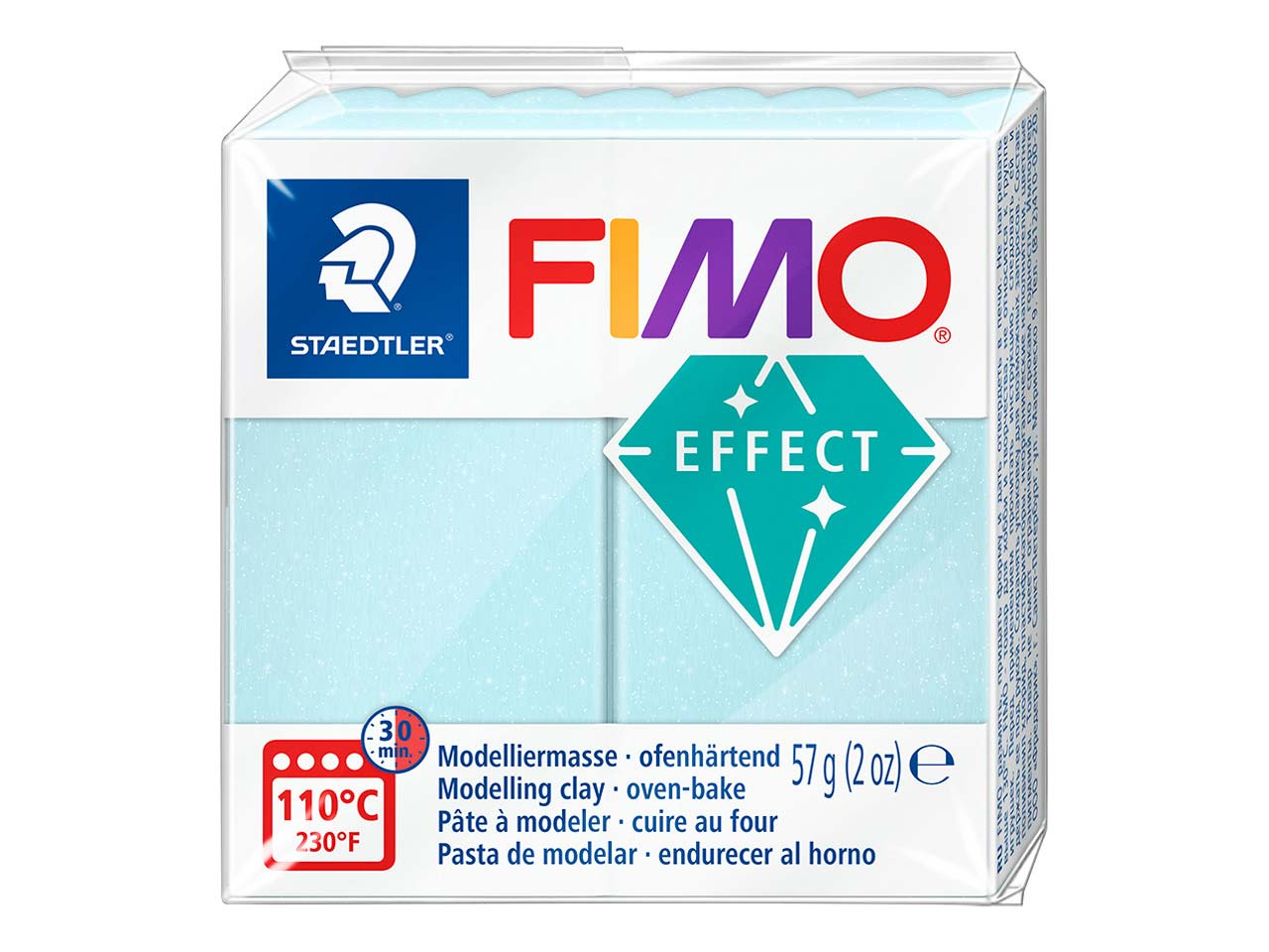 Fimo Effect Gemstone Blue Ice       Quartz 56g Polymer Clay Block, Fimo Colour Ref 306