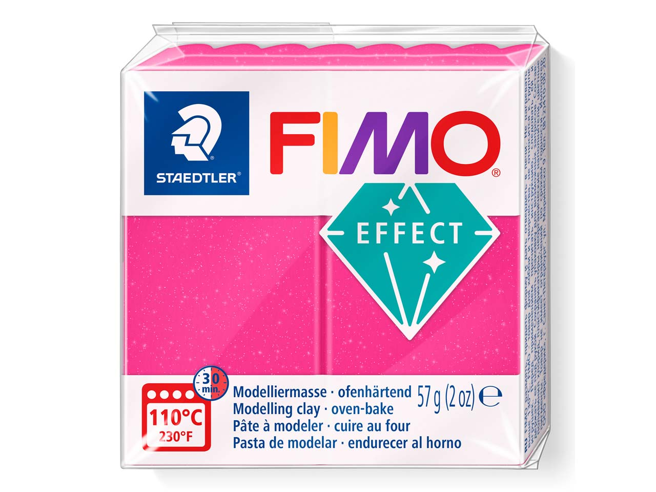 Fimo Effect Gemstone Ruby Quartz   57g Polymer Clay Block Fimo Colour Reference 286