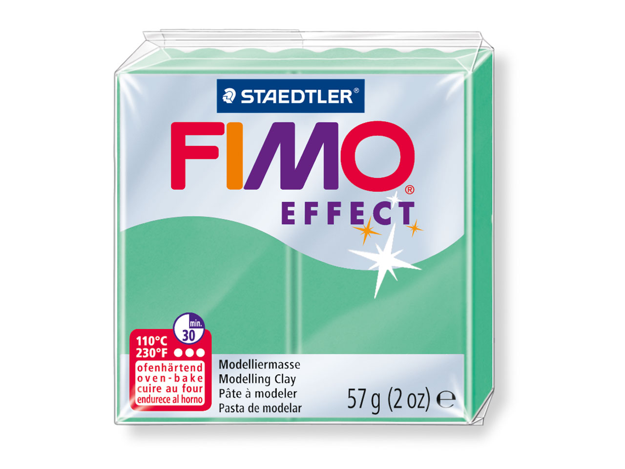 Fimo Effect Gemstone Jade Green,    56g Polymer Clay Block, Fimo Colour Reference 506