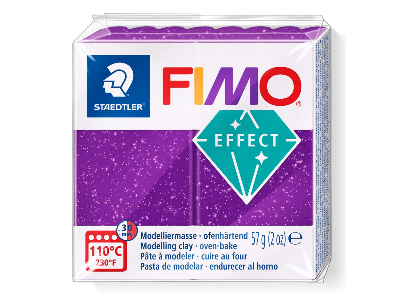 Fimo Effect Lilac Glitter 57g      Polymer Clay Block Fimo Colour     Reference 602