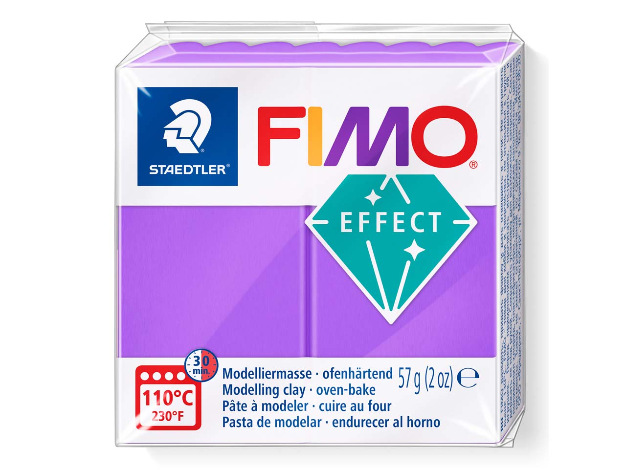 Fimo Effect Purple Translucent 57g Polymer Clay Block Fimo Colour     Reference 604