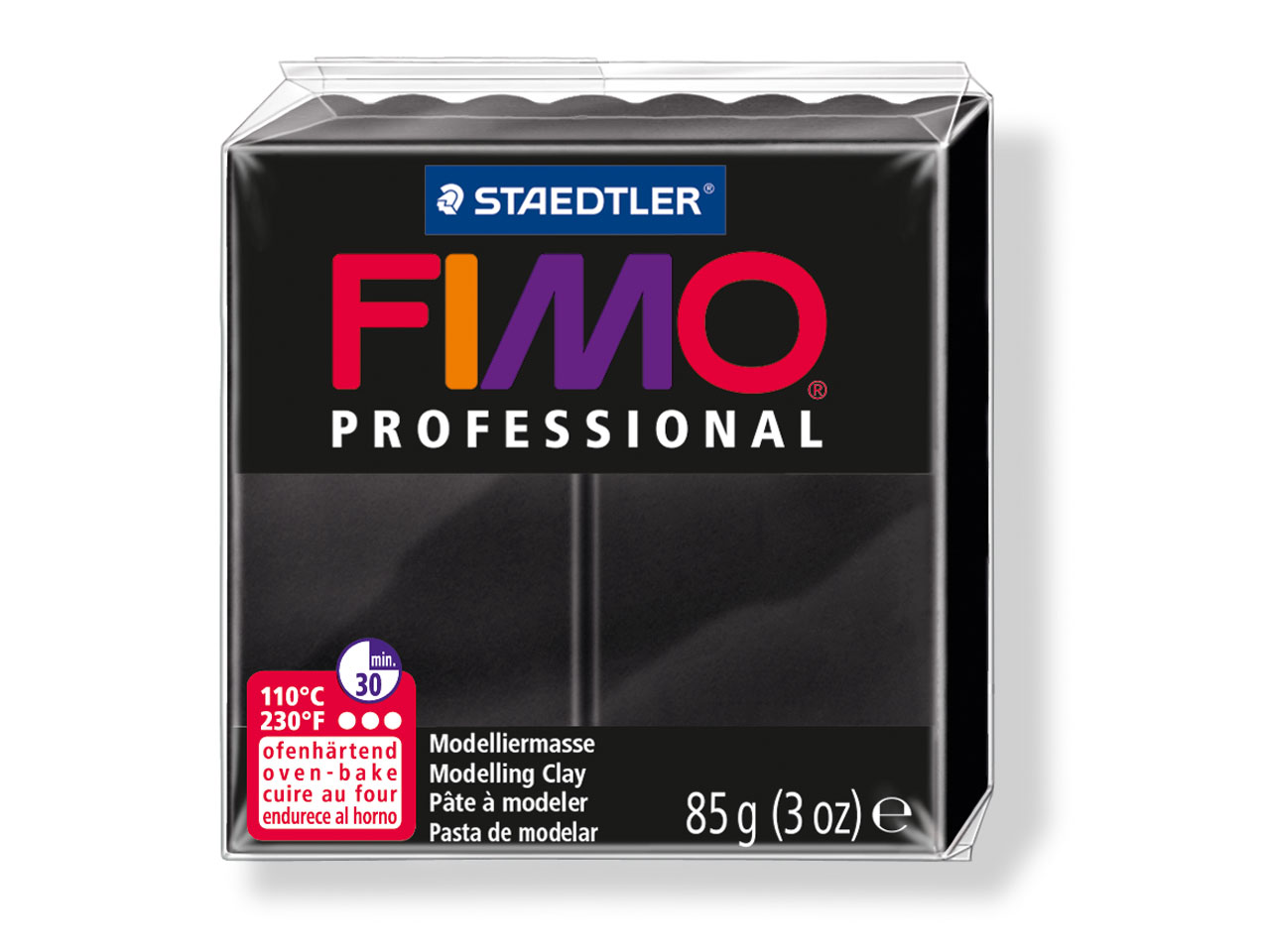 Fimo Professional Black 85g Polymer Clay Block, Fimo Colour Reference 9