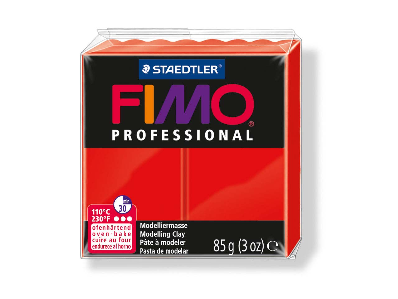 Fimo Professional True Red 85g     Polymer Clay Block Fimo Colour     Reference 200