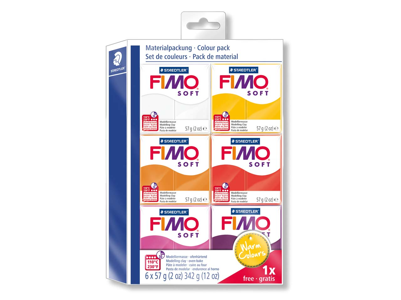 Fimo Soft Warm Colours Polymer Clay Set 5+1 Free