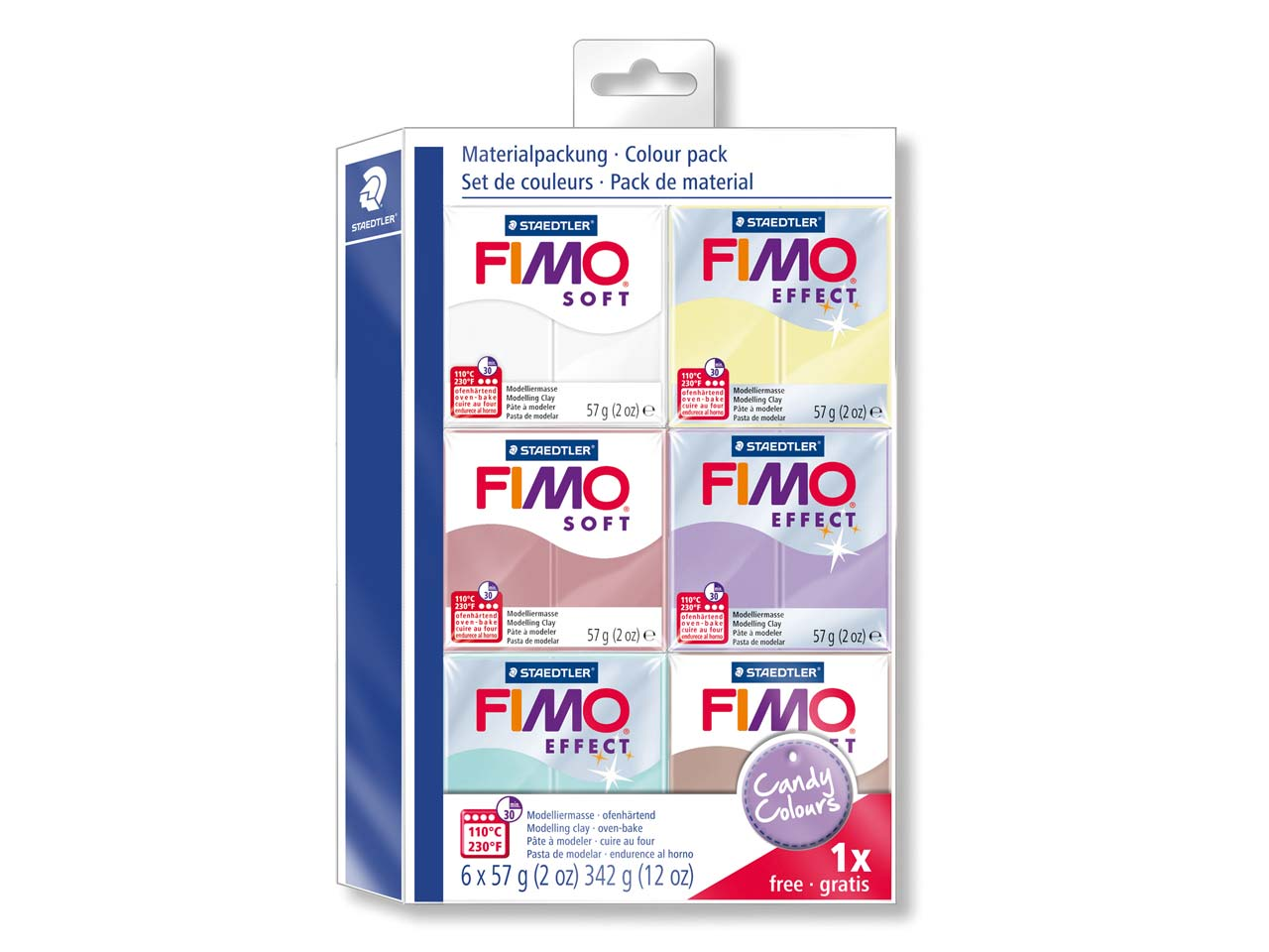 Fimo Soft Candy Colours Clay Set   5+1 Free