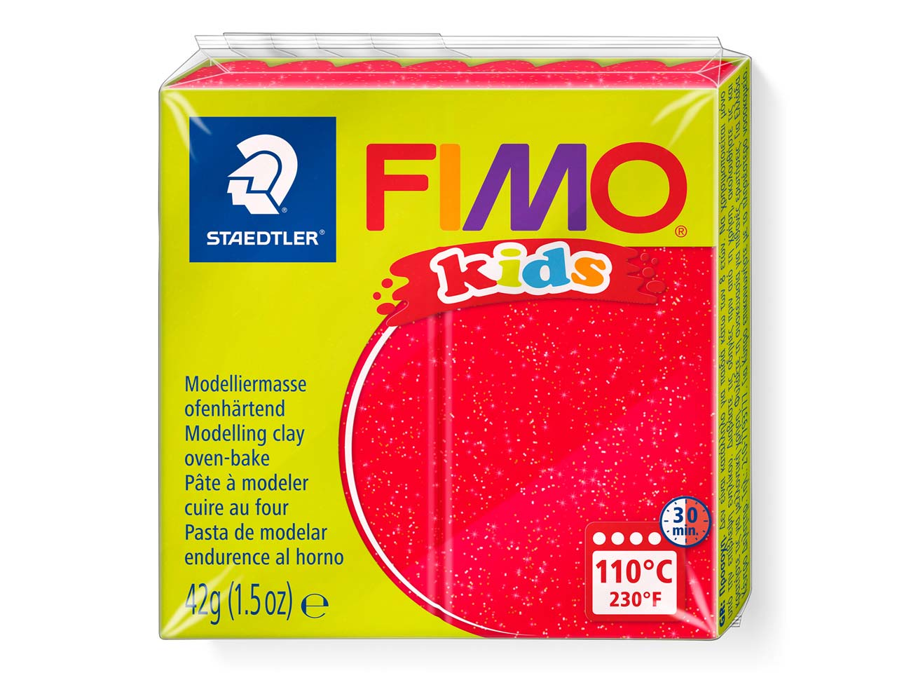 Fimo Kids Glitter Red 42g Polymer  Clay Block Fimo Colour Reference   212