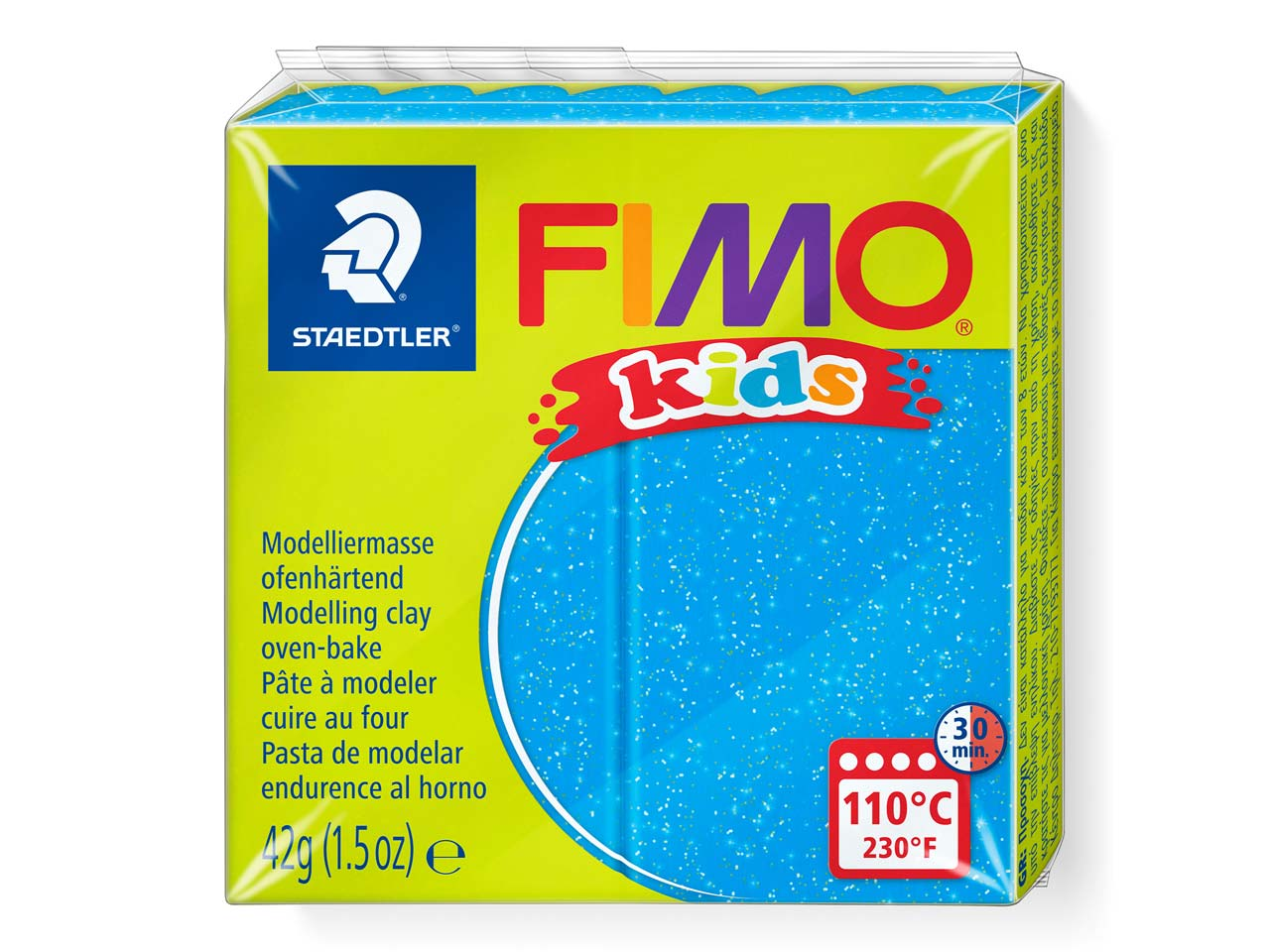 Fimo Kids Glitter Blue 42g Polymer Clay Block Fimo Colour Reference   312