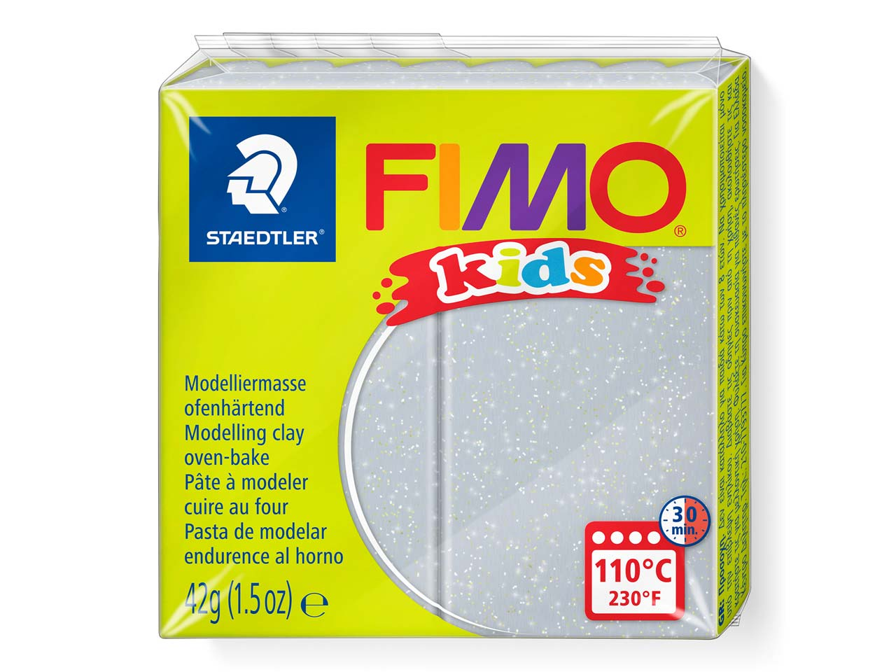 Fimo Kids Glitter Silver 42g       Polymer Clay Block Fimo Colour     Reference 812