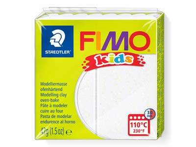 Fimo Kids Glitter White 42g Polymer Clay Block Fimo Colour Reference    052