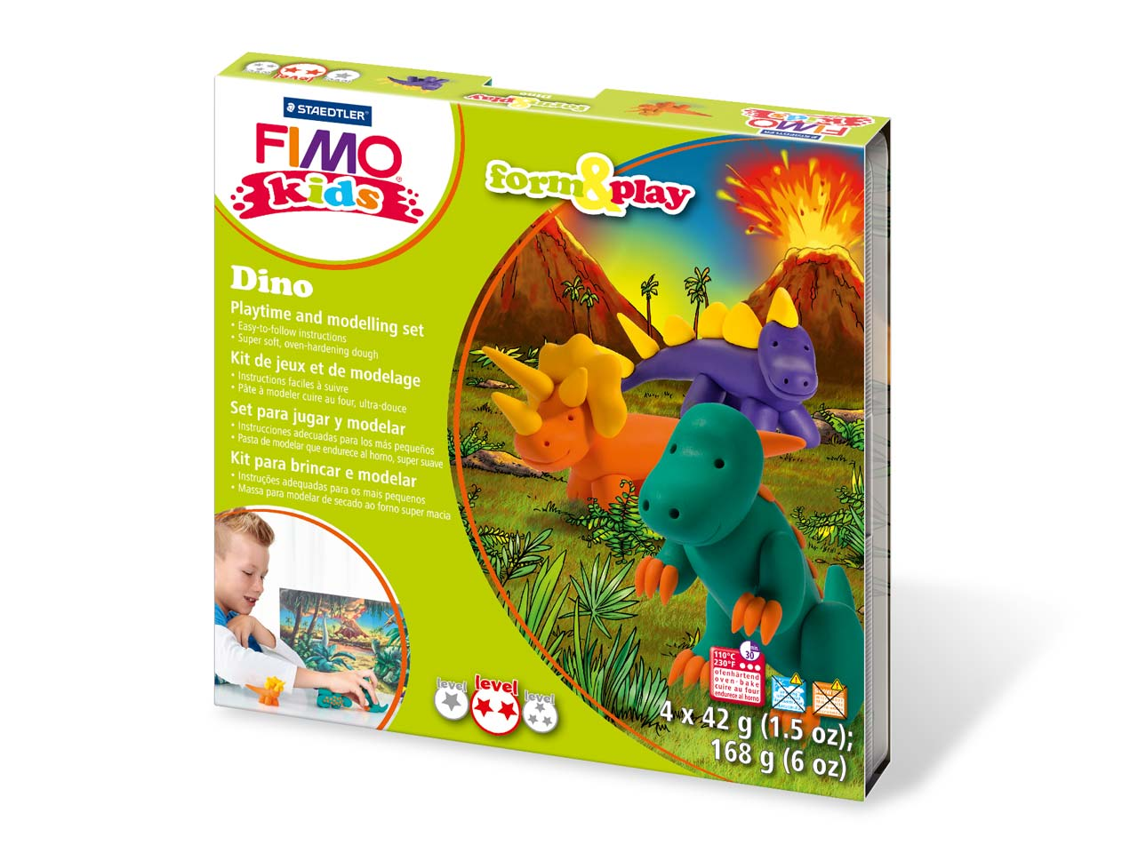 Fimo Dino Kids Form And Play       Polymer Clay Set