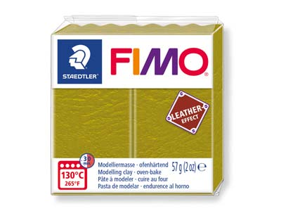 Fimo Leather Effect Olive 57g      Polymer Clay Block Fimo Colour     Reference 519