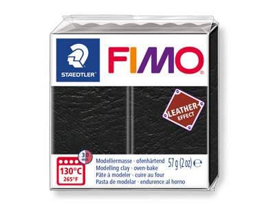 Fimo Leather Effect Black 57g      Polymer Clay Block Fimo Colour     Reference 909