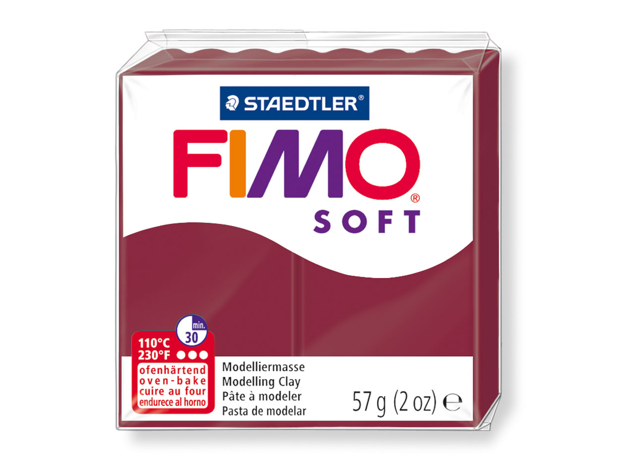 Fimo Soft Merlot 56g Polymer Clay  Block, Fimo Colour Reference 23