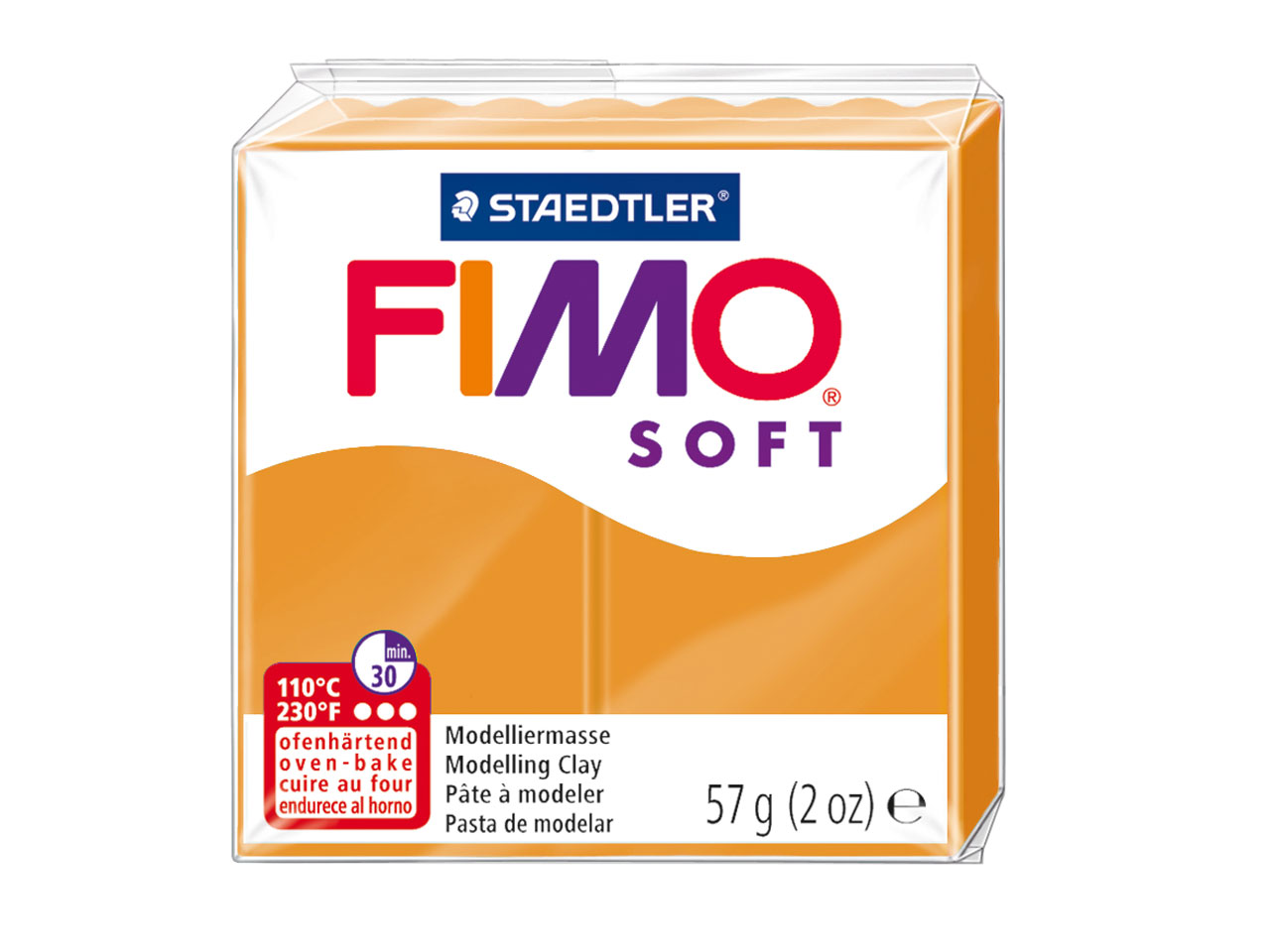 Fimo Soft Sunny Orange 57g Polymer Clay Block, Fimo Colour Reference  41
