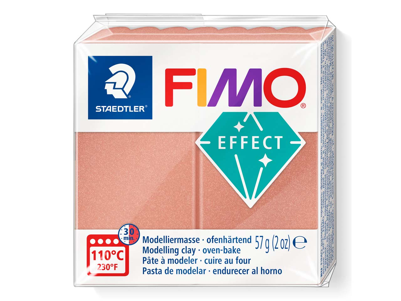 Fimo Effect Pearl Rose 57g Polymer Clay Block, Fimo Colour Reference  207