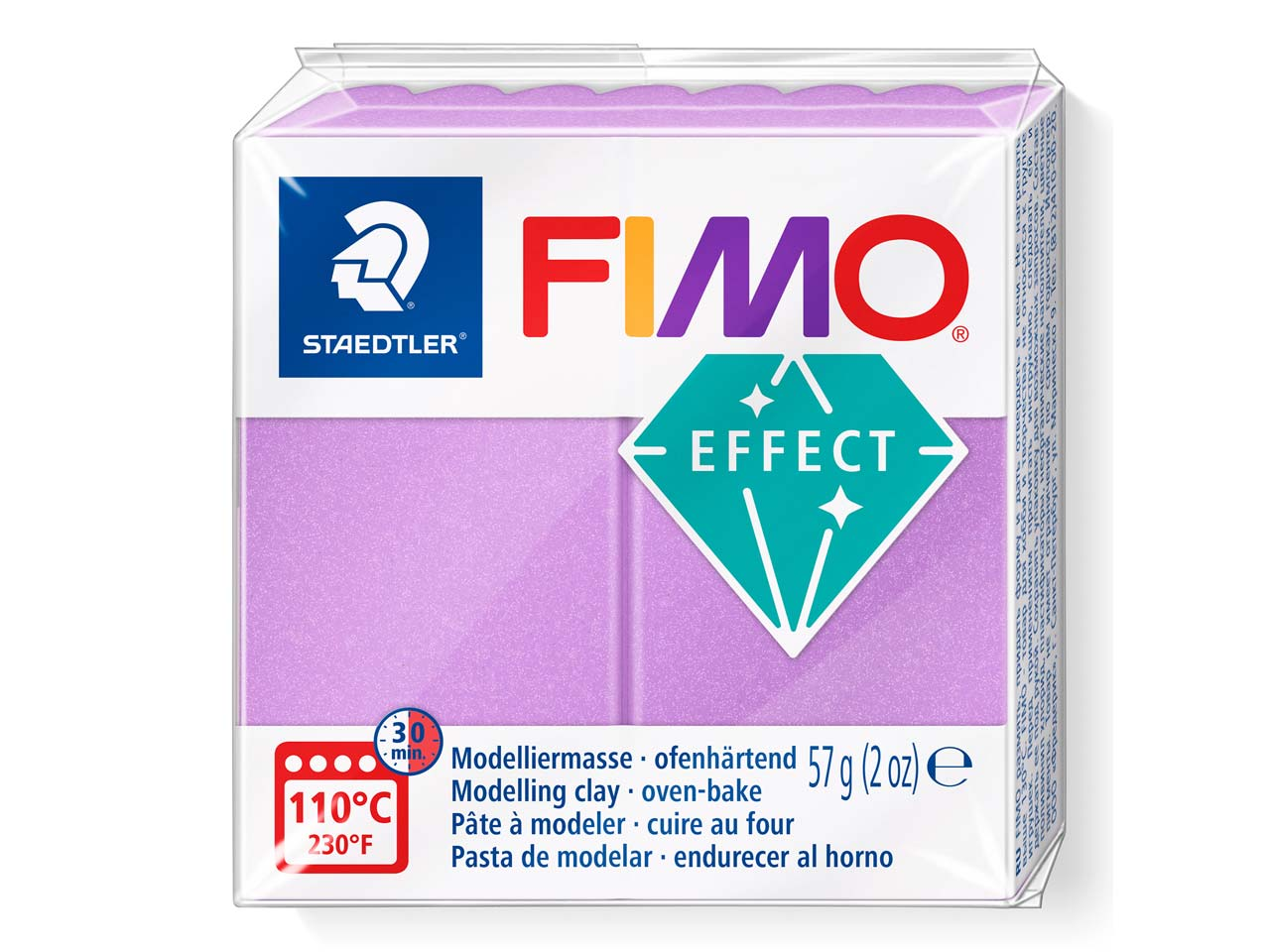 Fimo Effect Lilac 56g Polymer Clay Block, Fimo Colour Reference 607
