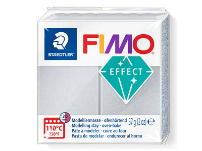 Fimo Effect Light Silver 57g       Polymer Clay Block, Fimo Colour    Reference 817