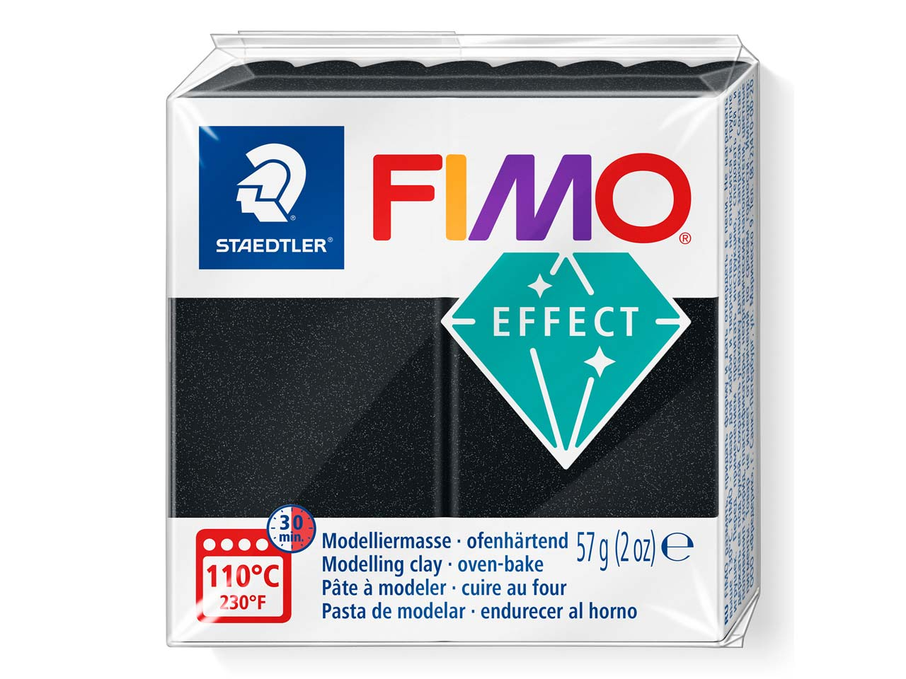 Fimo Effect Black 56g Polymer Clay Block, Fimo Colour Reference 907