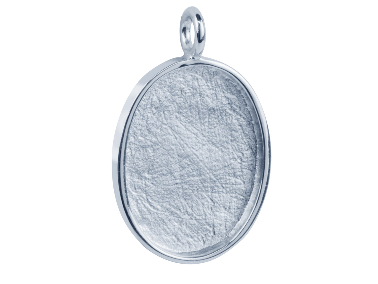 Oval Frame Pendant Rhodium Plated  Brass, 27x21mm