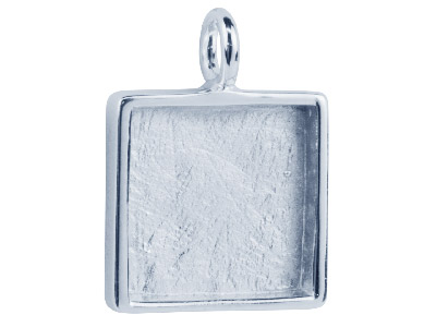 Square Pendant Frame Setting, Rhodium Plated Brass