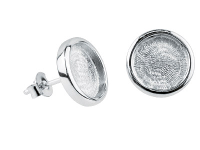 Round Frame Stud Earrings, Rhodium Plated Brass, 1
