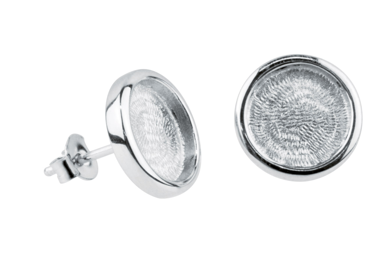 Round Frame Stud Earrings, Rhodium Plated Brass, 12mm