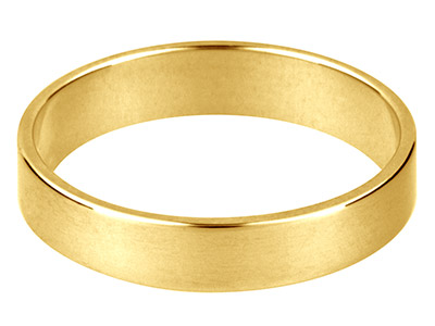 9ct Yellow Gold Flat Wedding Ring  5.0mm, Size U, 4.5g Medium Weight, Hallmarked, Wall Thickness 1.17mm, 100 Recycled Gold