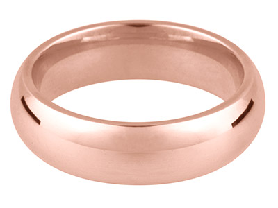 18ct Red Gold Court Wedding Ring   5.0mm, Size X, 8.1g Medium Weight, Hallmarked, Wall Thickness 1.83mm, 100 Recycled Gold