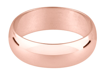 9ct Red Gold D Shape Wedding Ring  3.0mm, Size P, 2.5g Medium Weight, Hallmarked, Wall Thickness 1.37mm, 100 Recycled Gold