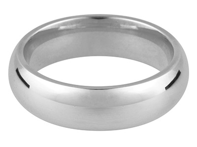 9ct White Gold Court Wedding Ring  5.0mm, Size R, 6.6g Medium Weight, Hallmarked, Wall Thickness 2.00mm, 100 Recycled Gold