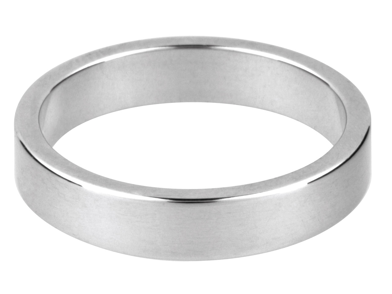 9ct White Flat Wedding Ring 4.0mm Q 4.0gms Medium Weight Hallmarked     Wall Thickness 1.26mm