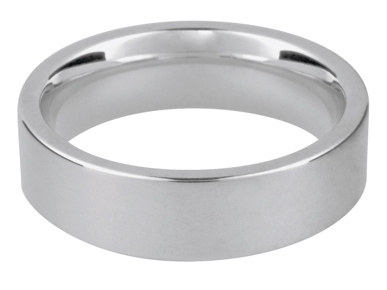 18ct White Easy Fit Wedding Ring   6.0mm Z 13.4gms Heavy Weight       Hallmarked Wall Thickness 2.04mm
