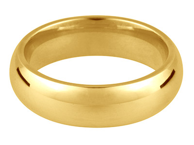 18ct Yellow Gold Court Wedding Ring 4.0mm, Size R, 6.5g Medium Weight,  Hallmarked, Wall Thickness 1.90mm,  100 Recycled Gold