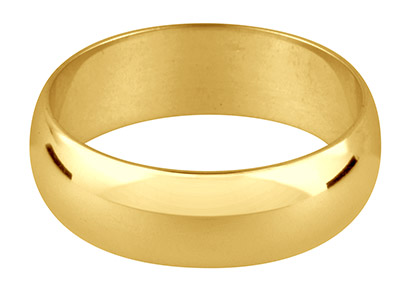 18ct Yellow Gold D Shape           Wedding Ring 3.0mm, Size P, 2.5g   Light Weight, Hallmarked, Wall     Thickness 1.05mm, 100 Recycled    Gold