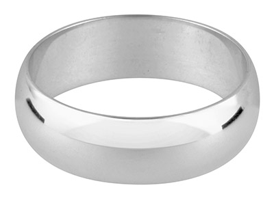Silver D Shape Wedding Ring 6.0mm, Size V, 6.5g Heavy Weight,         Hallmarked, Wall Thickness 1.75mm