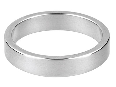 Silver Flat Wedding Ring 5.0mm,    Size V, 5.6g Heavy Weight,         Hallmarked, Wall Thickness 1.52mm