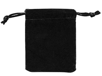 Anti Tarnish Velveteen Drawstring  Pouch, Black, Pack of 10, 2.75 X  3.5