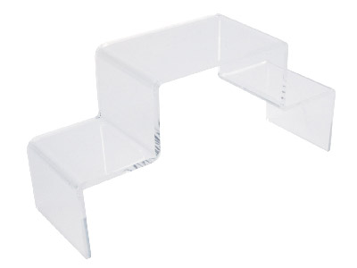 Clear Double Stepped Acrylic Jewellery Display Plinth