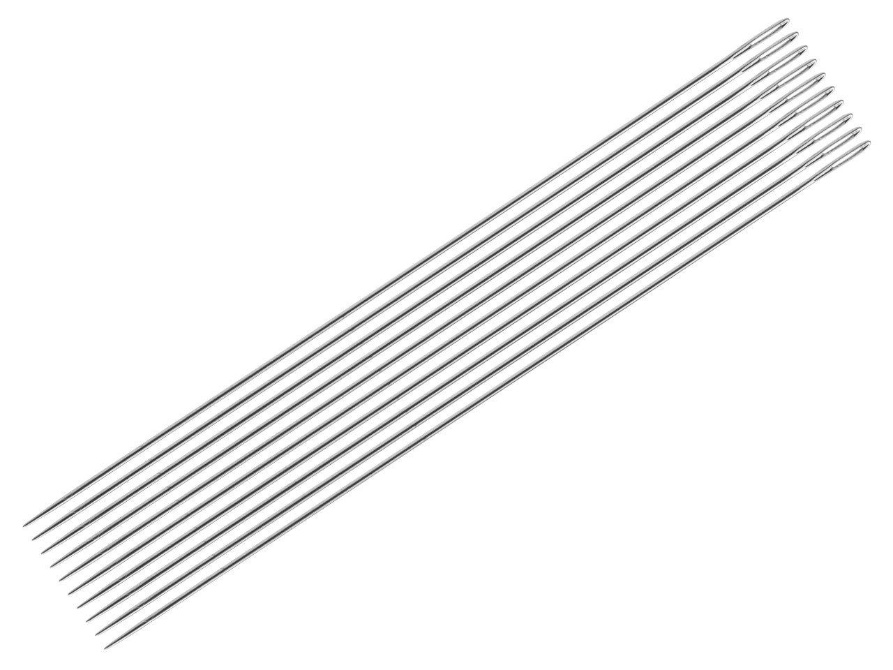 Straight Beading Needles,          Pack of 10, 0.33mm, Size 12