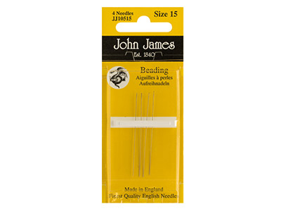 Straight Beading Needles Size 15   Pack of 4