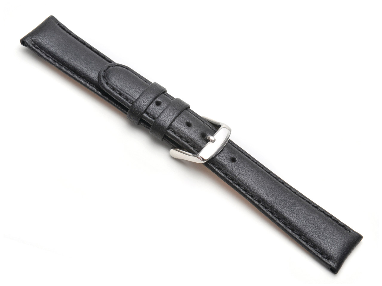Black Padded Calf Watch Strap 18mm Genuine Leather