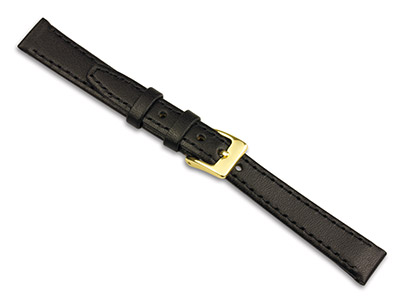 Black Calf Stitched Watch Strap    12mm Genuine Leather
