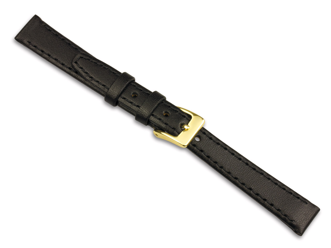 Black Calf Stitched Watch Strap    14mm Genuine Leather
